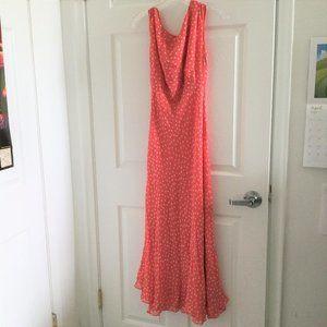 Chadwicks Orange Polka Dot Silk Maxi Dress